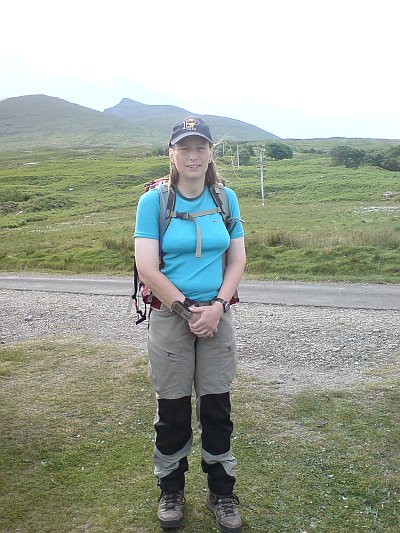 Beth about to set off to conquer Ben More on Mull