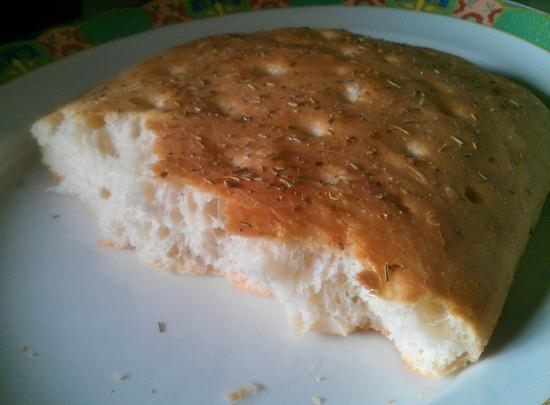 Focaccia half eaten