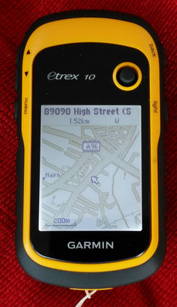 eTrex 10 showing map of Nairn