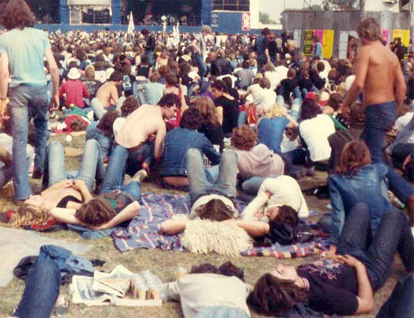 Chilling between bands (C) Ferg Ranson 1980