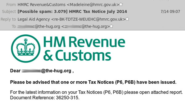HMRC email to CalMac email address