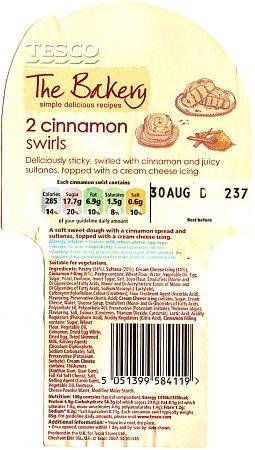 Cinnamon Swirls label