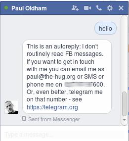 Auto-responder reply to Facebook Messenger