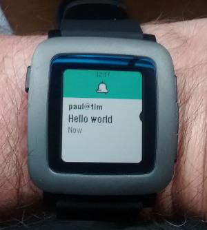 Hello world via Pushbullet on my Pebble