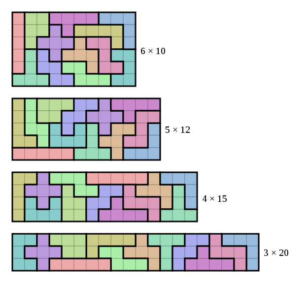 Pentominoes tiled in various ways